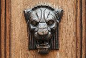 Wooden lion head relief - decorative element on ancient weathered door in old part of Tallinn Estonia poster