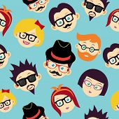 Retro hipsters happy faces seamless pattern illustration. Vector file layered for easy manipulation and custom coloring. poster