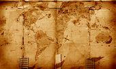 Close up of Vintage world map 2D art poster