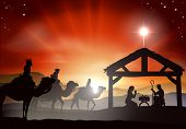 Christmas nativity scene with baby Jesus in the manger in silhouette three wise men or kings and star of Bethlehem poster