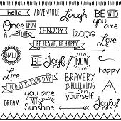 Vector Collection of Hand Drawn Doodle Word and Phrases poster