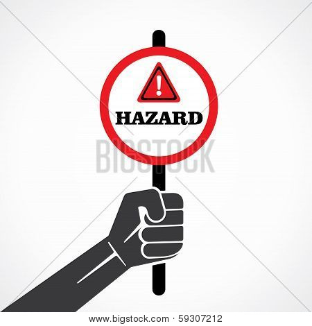 hazard word banner hold in hand stock vector