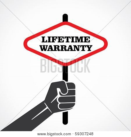 lifetime warranty word banner hold in hand stock vector