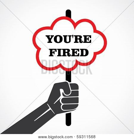your re fired word banner held in hand stock vector
