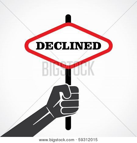 declined word banner held in hand stock vector