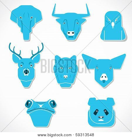 creative face of animals stock vector