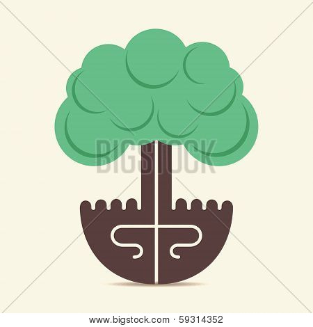 creative tree design by using of hand stock vector