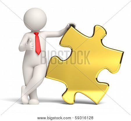 3D Business Man Thumbs Up Solution - Gold Puzzle Copyspace