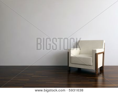 Chair on a blank white wall