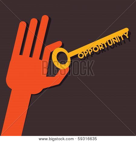 Opportunity key in hand stock vector