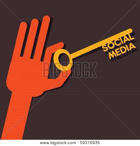 social media key in hands stock vector
