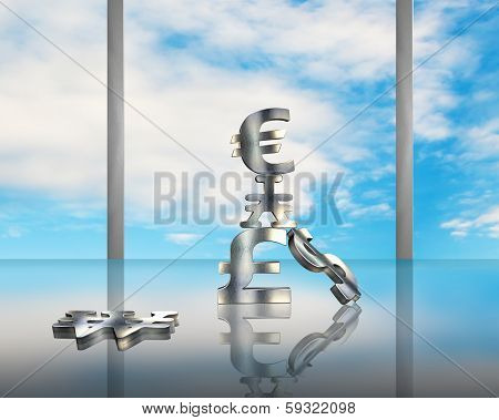 Stacking Sliver Money Symbols On Glass Table With Blue Sky