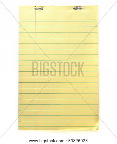 Notebook with typical yellow recycled paper