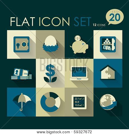 finance & investment icon set vector flat design poster