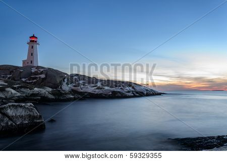 Peggys Cove's Lighthouse At Dusk
