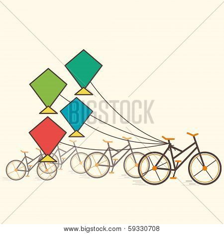 colorful kite attach bicycle vector