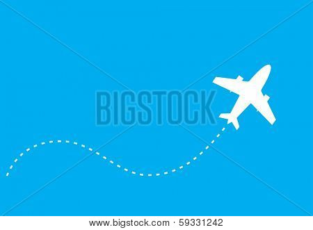 white silhouette of jet airplane, isolated on blue poster