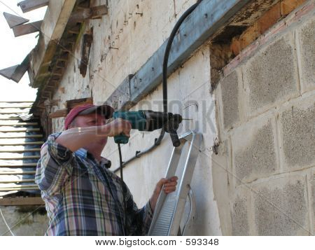 Electrician Fixing Heavy Duty Cable