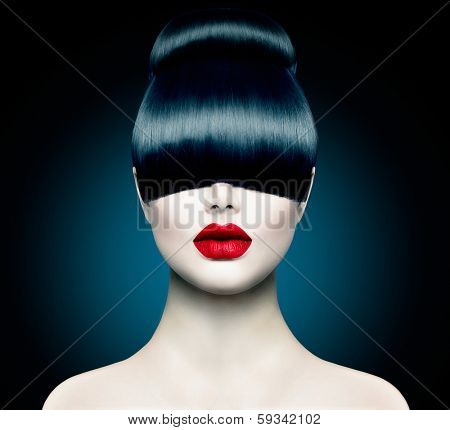High Fashion Model Girl Portrait with Trendy Fringe Hair style and Makeup. Long Black Fringe Hairstyle, Black Hair and Red Matte Lipstick. Woman Makeup. Sexy Lips. Haircut  poster