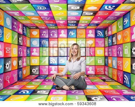 3d image of abstract cubes and icon set with smiling woman