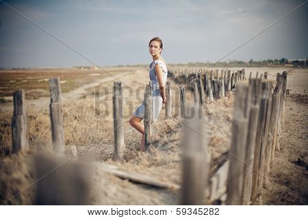 Beautiful girl in field