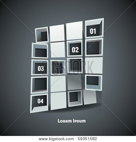 Infographic numbered 3d Abstract figure poster