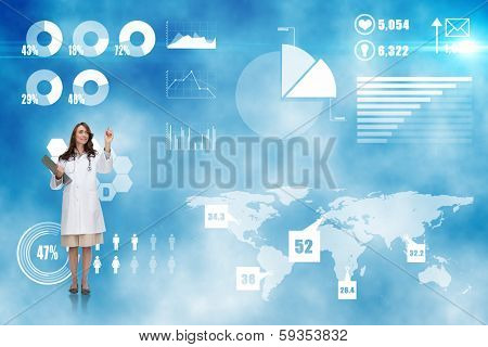 Smiling doctor pointing against futuristic technology interface poster