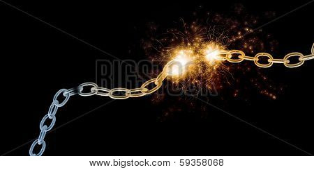 Conceptual image with steel broken chain in lights