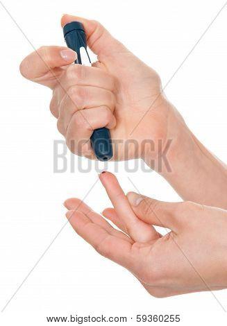 Diabetes Diabetic Concept Finger Prick Measuring Level Blood