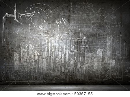 Background image with sketches on black wall