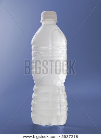 Frosted Water Bottle On Blue