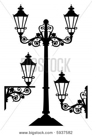 Antique vector street lights