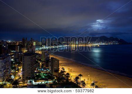 View of Benidorm at night, Costa Blanca, Spain