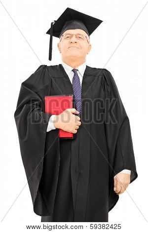 Proud male college professor holding books and standing isolated on white background