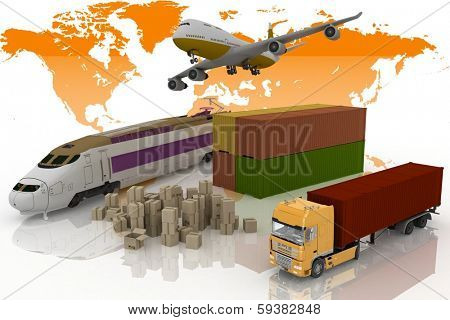 types of transport of transporting are loads. 3d illustration on a white background