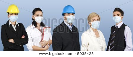 Group Of People Protect From Flu