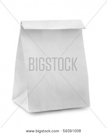 Blank paper bag isolated on white