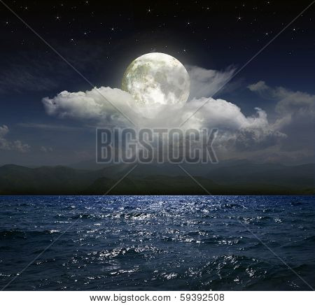 Moonlit night over the sea