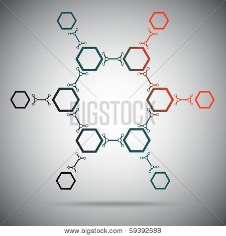 Twelve hexagonal cells connected by a links. Gradient. Vector Graphics. poster