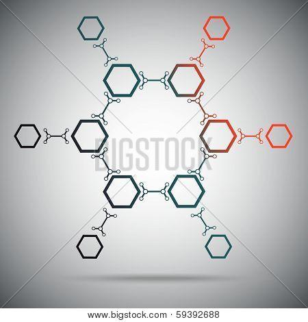 Twelve hexagonal cells connected by a links. Gradient. Vector Graphics. poster