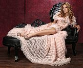 Beautiful Woman in Luxurious Corset Fashion Outfit poster