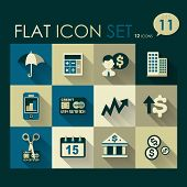 investing & finance icon set vector flat design poster