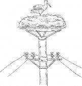 vector - White stork sitting on the nest on the mast poster