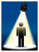 A symbol person stick figure shines in center stage in the spotlight on a blue background. poster