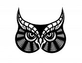 Cartoon vector illustration in black and white of the face of a fierce looking horned owl poster