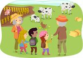 Illustration of a Group of Kids Touring a Farm with Their Grandparents poster