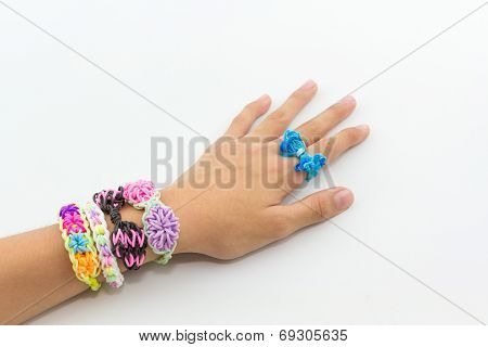 Colorful Of Elastic Rainbow Loom Bands.