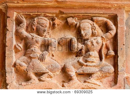 Figurines made of terracotta at Madanmohan Temple Bishnupur West Bengal India . poster