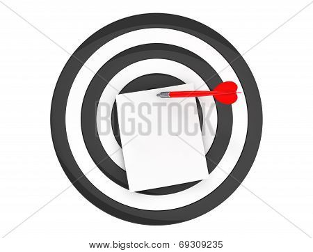 Blank Note Paper At The Center Of Dart Aim