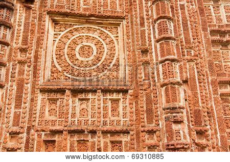 Figurines made of terracotta at Shyamroy Temple Bishnupur West Bengal India . poster